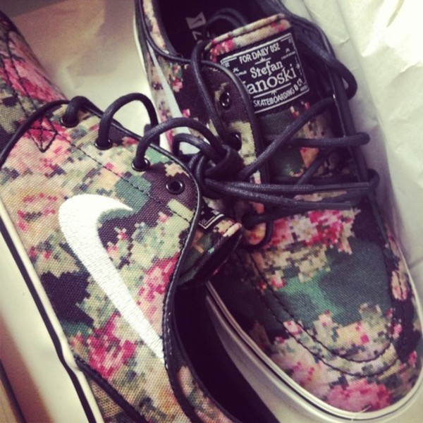 shoes nike cool fashion print flowers sneakers nike sb stefan janoski ?digi floral camo?