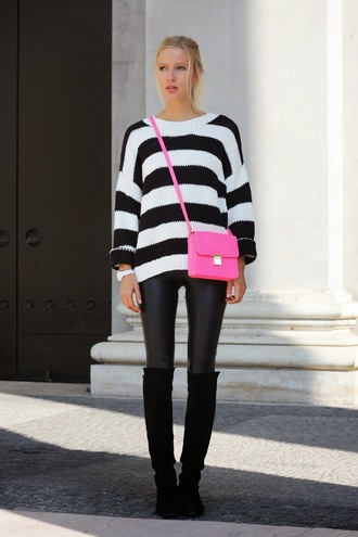 jolie janine blogger black boots striped sweater leather leggings pink bag