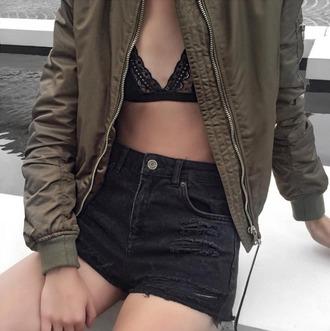 shorts tumblr black shorts bralette black bralette jacket army green jacket bomber jacket khaki bomber jacket