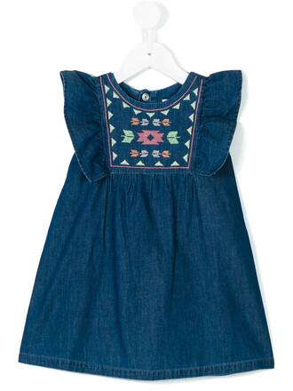 dress denim dress denim embroidered cotton blue