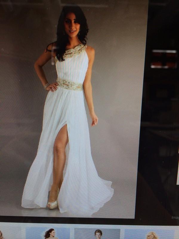 dress white dress gold long prom dress