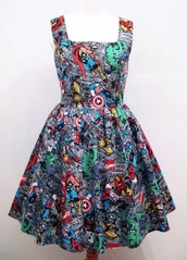 dress,comics,The Avengers,romper,marvel,red,green,blue,black,white,superheroes,skater dress,marvel superheroes
