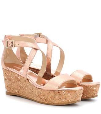 metallic sandals platform sandals leather pink shoes