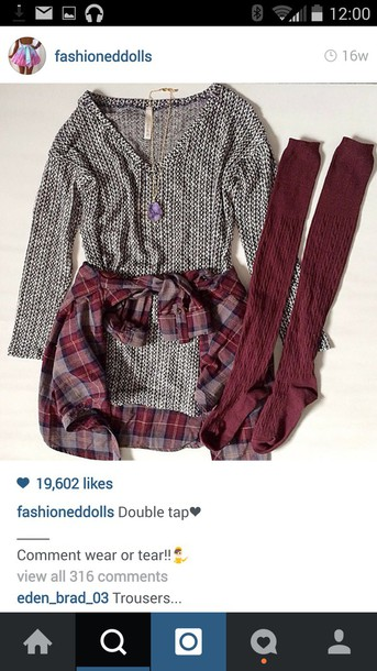 shirt knitted sweater t-shirt maroon socks plaid shirt button up shirt cute sweaters sweater warm sweater leggings socks