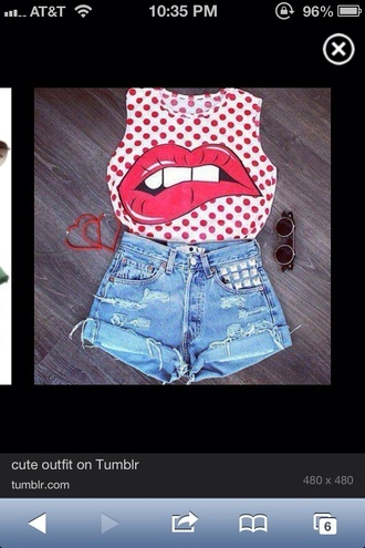 shirt tank top muscle tee polka dots lips hipster swag high waisted shorts sunglasses
