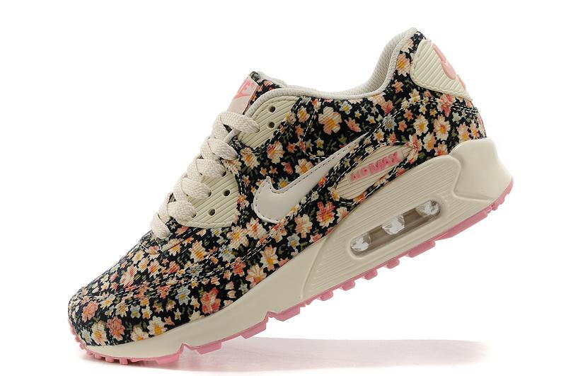 New Cheap Nike Air Max 90 Floral Print Womens Shoes  BlackGreen  Nike