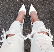 ysds,shoes,jeans,pants,d'orsay pumps,all white everything,heels,pointed toe heels,ripped light jeans,ripped jeans,pointed toe,pointed toe pump,girly