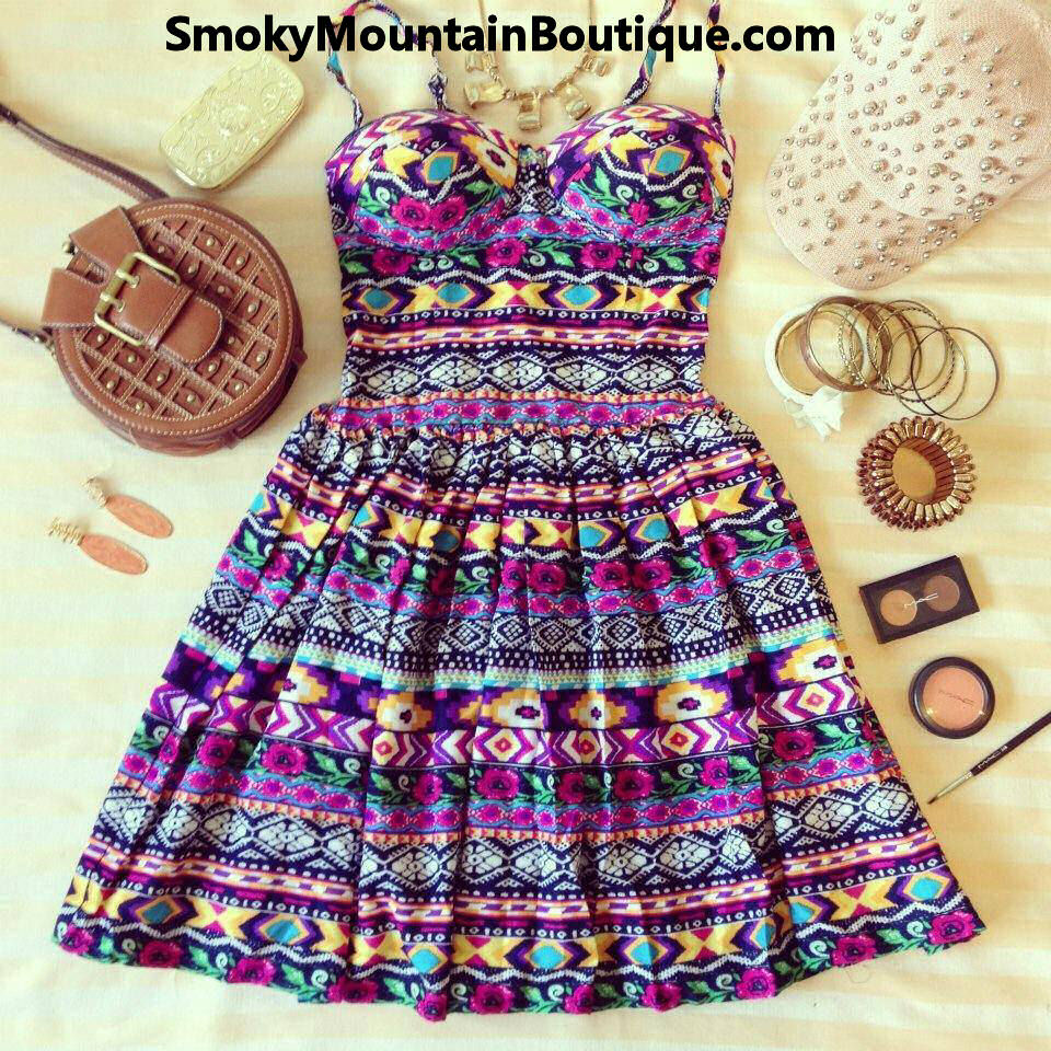 Aztec Multi Color Bustier Dress with Adjustable Straps - Size XS/S/M - Smoky Mountain Boutique | Smoky Mountain Boutique