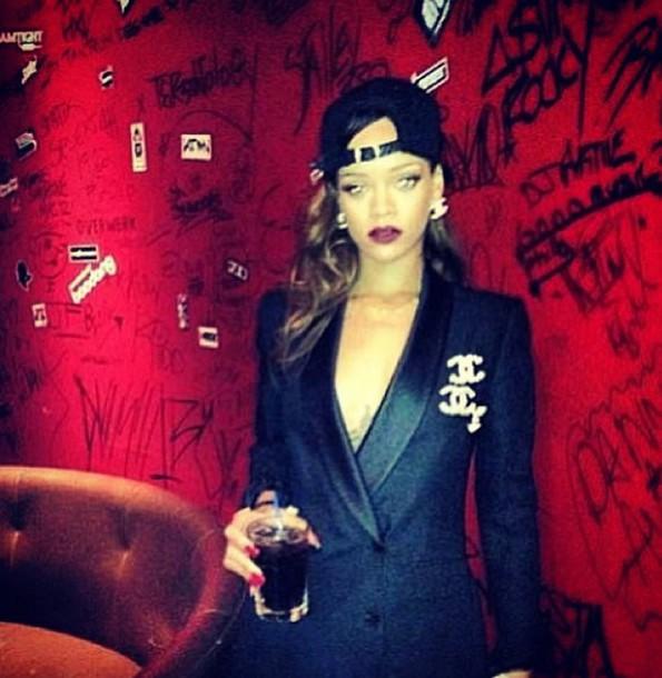 chanel rihanna blazer jacket rihanna style chanel style jacket black blazer bucket hats rihanna nails red lipstick jewels