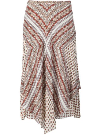 skirt draped skirt women draped floral white print silk