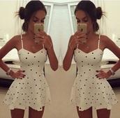dress,white dress,pokadot,black and white,black and white dress