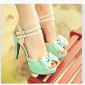 shoes,mint,high heels,pumps,bows,heels mint bow pastel,cute,cute high heels,bow,sandals,heels,cream,high heel sandals,sandles,teal pumps bow,vintage,nude,mint green shoes,strappy heels,strappy sandals,bow tie heels,gold,platform sandals,shoes mint green and nude,pastel,beige,coat,this same color and design,pastel blue,creme,kawaii,teal