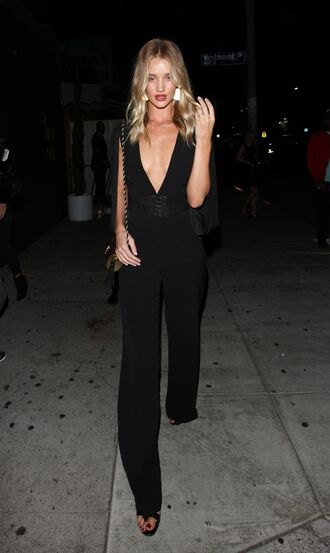 shoes all black everything pants top plunge v neck plunge neckline belt model off-duty rosie huntington-whiteley sandals jumpsuit palazzo jumpsuit