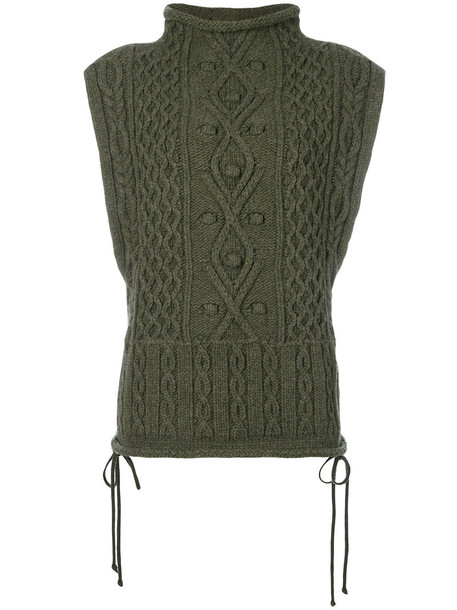 PORTS sweater sleeveless high women high neck wool green