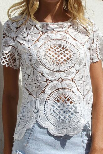 tank top white top white crochet crochet lace short sleeves sheer top www.ustrendy.com