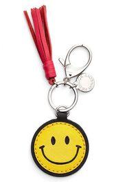 bag,bag charm,charm,emoji print,yellow,red,bag accessoires,keychain,smiley,tassel