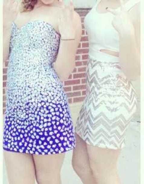 dress purple dress diamonds strapless dress