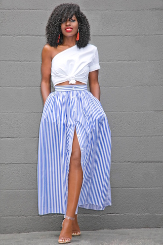 blogger skirt shoes one shoulder white top stripes striped skirt button up white crop tops crop tops sandals