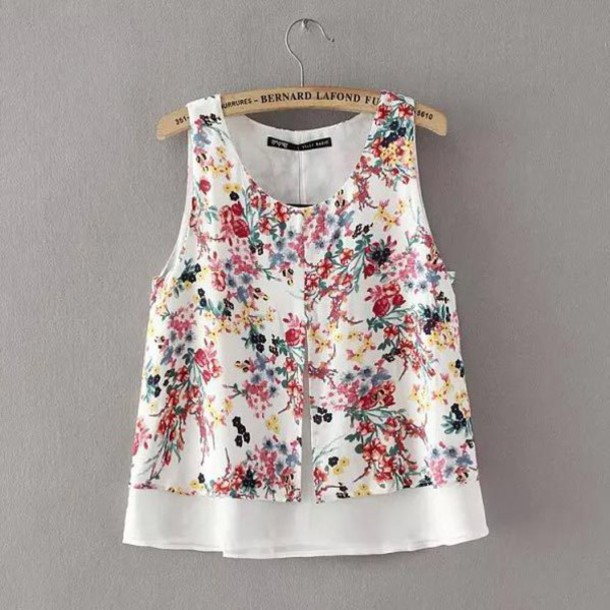 ed6bb8417baa7a blouse brenda-shop crop tops cropped floral floral tank top sleeveless  sleeveless top double layers
