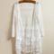 Chic manches 3/4 féminin voir à travers les sheer lace cardigan crème solaire vêtements chemise externe