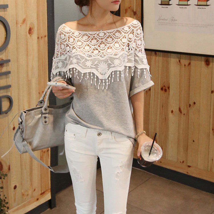 Fashion Women Elegant Batwing Lace Shirt Short Sleeve Loose Blouse T-shirt Tops