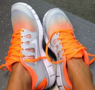 shoes orange nike running shoes 5.0 free runs silver