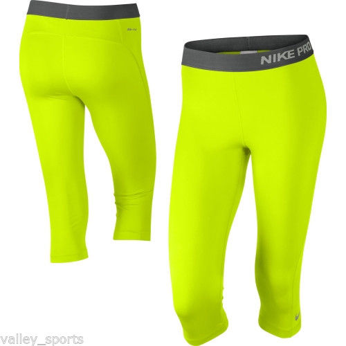 NEW! Volt-Ash [S] NIKE PRO Women's Capri Tights Pants DRI-FIT Fitness Small