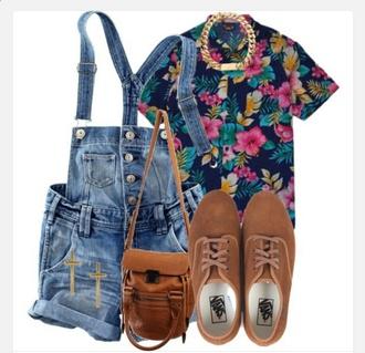 shorts jumper jumpsuit floral t shirt flats blouse