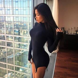 dress sexy tan black hair little black dress svetlana bilyalova long sleeve dress bodycon dress long sleeves bodycon black black dress mini dress party dress sexy party dresses sexy dress party outfits summer dress summer outfits classy dress cocktail dress date outfit birthday dress summer holidays cluwear clubwear club drss club dress