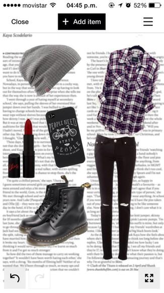 black pants red leggings flannel shirt beanie