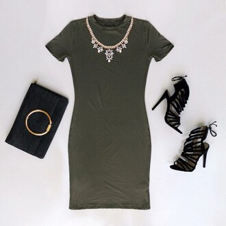 skirt olive green olive dress dress bodycon mini dress date outfit outfit idea gojane