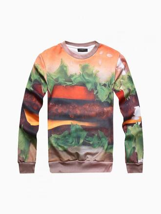 choies printed sweater hamburger