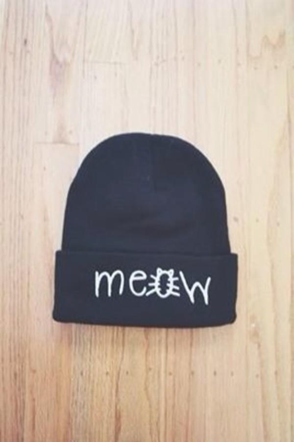 hat beanie meow black