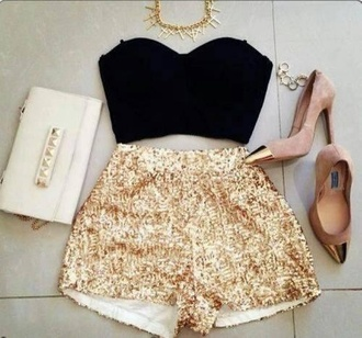 shorts gold white bag black crop top gold necklace high heels sparkle