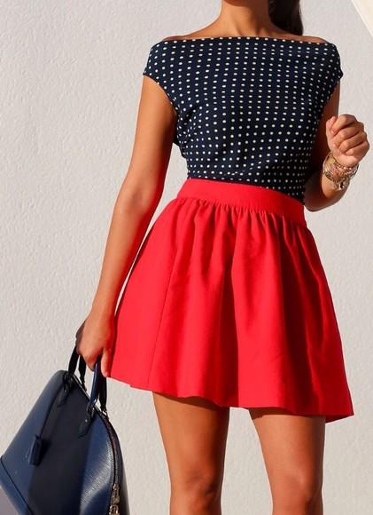 polka dots bag top skater skirt