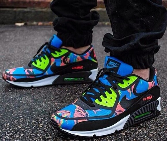 black swag dope shoes white blue green pink swoosh nike air max paint palm tree