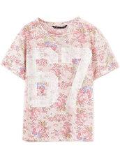 t-shirt,top,floral top,shirt,67,short sleeve,musthave,o neck,brenda-shop,floral,number tee,number,roses,soft,summer,summer outfits,spring break,cute,rose,pink,light pink