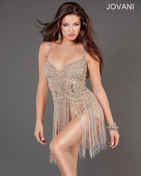 dress nude beaded sequins jovani pants neutral tan