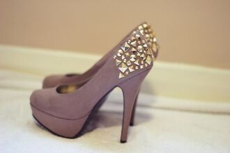shoes gold studded taupe high heels pumps