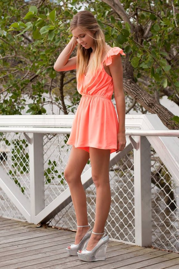 dress romper romper peach cute drape frill