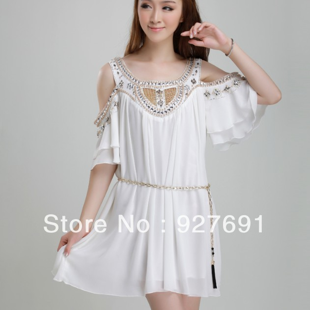 New Arrival 2013 Fashion Plus Size Clothing Beading White Vest Chiffon Beach Slim One piece Dress-inDresses from Apparel & Accessories on Aliexpress.com