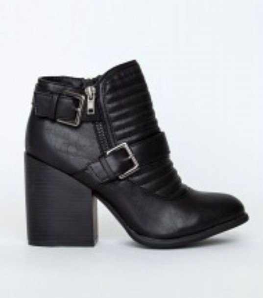 shoes boots ankle boots high heels high heels boots zip black leather black leather boots booties chunky heel chunky heel boots black boots black chunky heel booties heels chunky