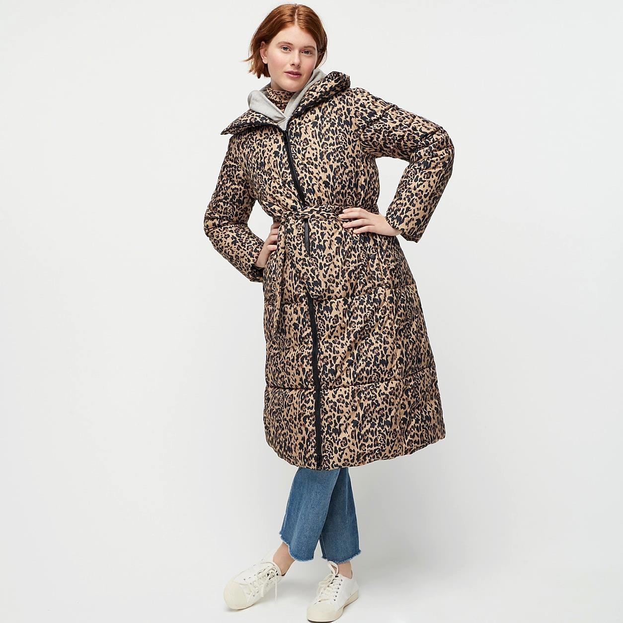 Leopard Long Belted Puffer Coat With Primaloft