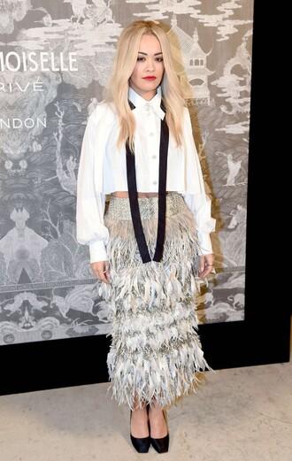 skirt feathers rita ora blouse shirt