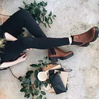shoes boots booties ankle boots brown leather boots chelsea boots heels tumblr outfit