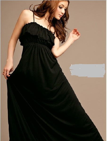 Wholesale new style off shoulder sexy long dress black