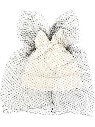 bow beanie white hat