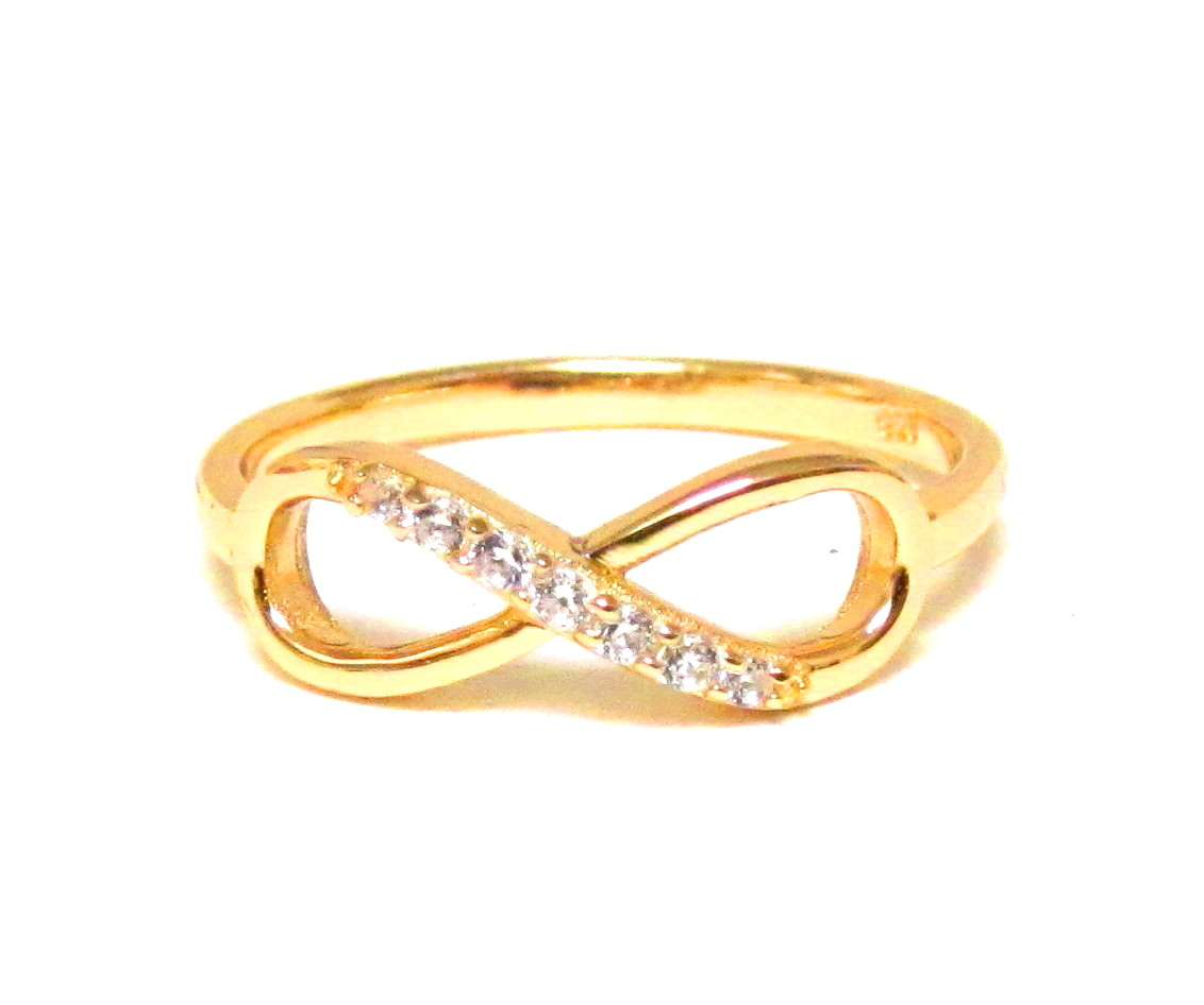 14 kt gold over sterling silver ring with cubic zirconia