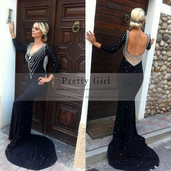 Aliexpress.com : buy new elegant black long mermaid evening dress scoop neck backless beading long sleeve prom dress 2015 free shipping vestido longo from reliable dress me prom dresses suppliers on pretty girl trade co., ltd
