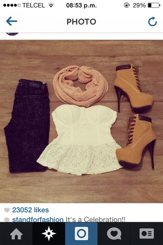 shoes timberland camel shoes high heels black high heels black heels blouse jeans scarf dress timberland heels tank top